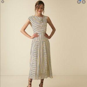 REISS Raya STRIPED ASYMMETRIC MIDI Dress Size 4#26